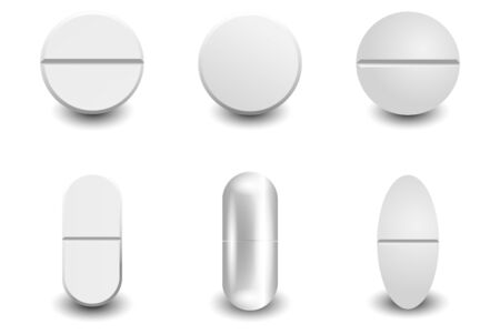 Set different vector realistic white pills isolated on white background