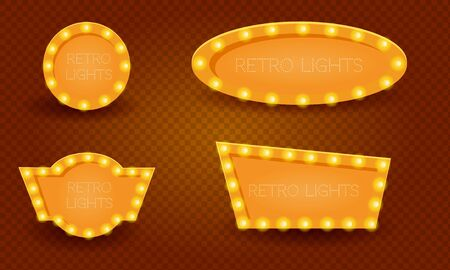 Banners in vintage style. Frames with shining lights.