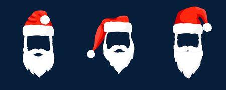 Vector collection Santa Claus hats, moustache, horns, beards and glasses. Christmas festive design.