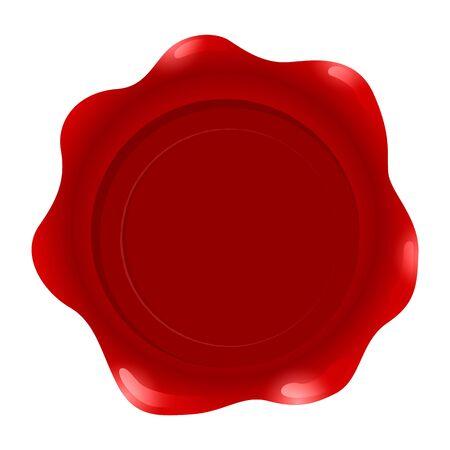 Sello de cera roja aislado sobre fondo blanco, ilustración vectorial