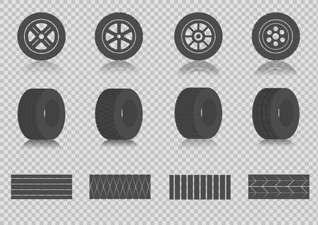 Car tires and track traces vector isolated icons of tire tread pattern.