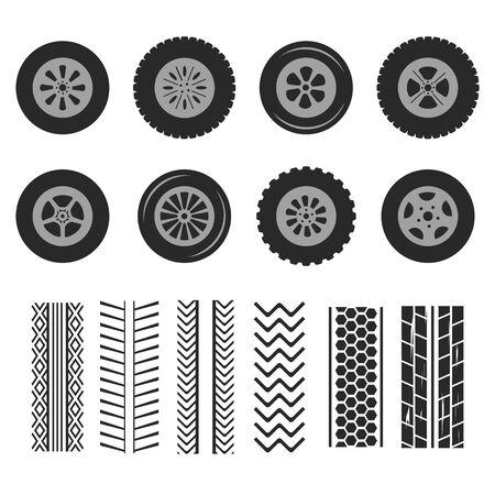 Autoreifen und Spurspuren Vektor isolierte Symbole des Reifenprofilmusters.