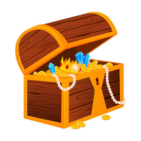 Gold treasures with expensive diamonds and luxury crowns in old wooden chest and fabric bags isolated vector illustrations on white background.
