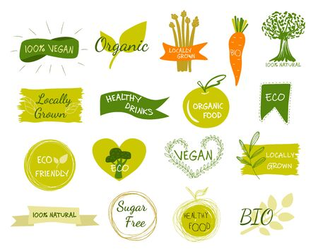 Bio, ecologia, loghi e icone organici, etichette, cartellini. Distintivi di cibo sano bio disegnati a mano, set di segni di cibo crudo, vegano, sano, set di elementi organici.