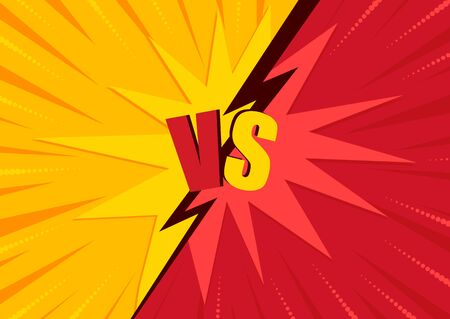Versus screen design. Battle headline template. Game concept competitive vs. Vector illustration