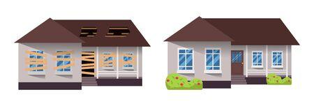 Renovación de viviendas. Casa antes y después de la reparación. Cabaña suburbana nueva y vieja. Remodelar edificio. Ilustración vectorial