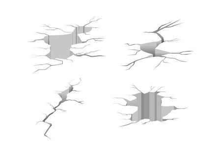 Ground cracks. Earthquake crack, hole effect and cracked surface. Cracked ground isolated on a white background. Vector illustration Ilustração