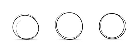 Set of Hand Drawn Circles, design elements vector.