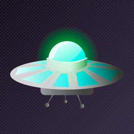 Alien spaceship, spacecrafts and ufo vector set in cartoon style. Cosmic ship in form saucer for transportation.