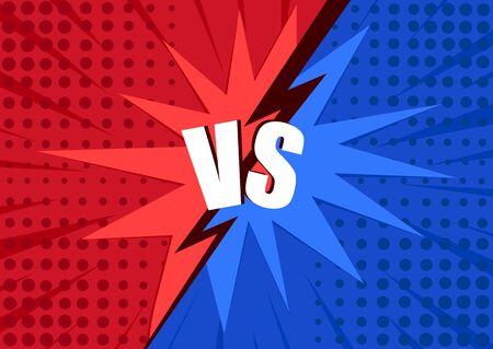 Versus screen. Vs battle headline, conflict duel between Red and Blue teams. Battle vs match, game concept competitive vs. Vector illustration