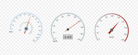 Speedometer and tachometer scales. Large collection. Vector illustration