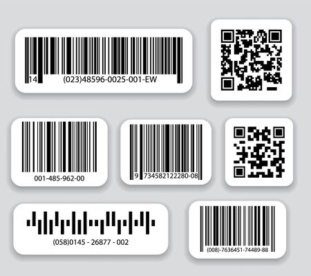 Business barcodes and QR codes vector set. Black striped code for digital identification, Realistic bar code icon. Ilustrace