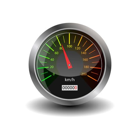 Dashboard - speedometer. Collection of speedometers, tachometers. Vector illustration on a white background.