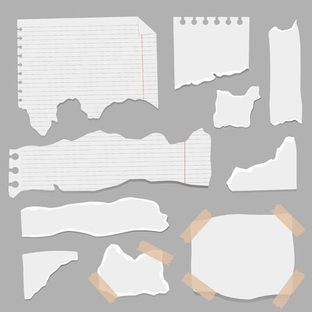 Set of paper different shapes scraps. Ripped papers, torn page pieces and scrapbook note paper piece. Texture page, textured memo sheet or notebook shred. Vector illustration