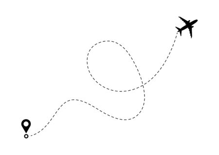 Airplane line path route. Travel vector icon with start point and dash line trace, plane routes flight air dotted drawing isolated illustration.