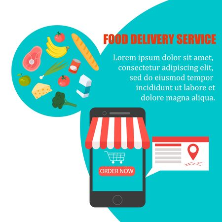 Order food, Grocery delivery at home and smartphone app: full shopping basket with fresh vegetables, food and beverage on a mobile phone display