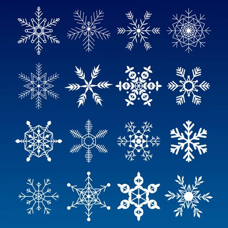 Colección de copos de nieve. Iconos de nieve plana, silueta. Bonito elemento para banner de Navidad, tarjetas. Adorno de año nuevo.
