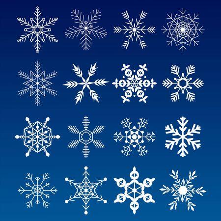 Kolekcja płatków śniegu. Płaskie ikony śniegu, sylwetka. Ładny element na bożonarodzeniowy baner, karty. Ozdoba na nowy rok.