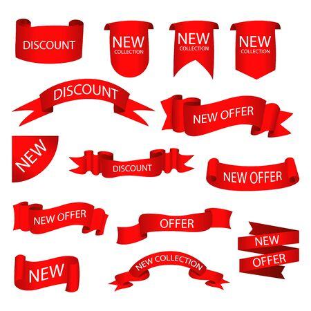 Conjunto de etiquetas con texto. Vector insignias y etiquetas aisladas. Ilustración de vector