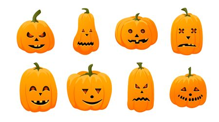 Set of Halloween pumpkins with different faces. Illustration