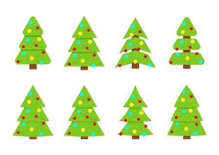 Winter colorful collection of Christmas trees. Can be used for greeting card, invitation, banner, web design. Иллюстрация