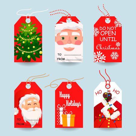 Modern Christmas gift tags and cards . Vector illustration Иллюстрация