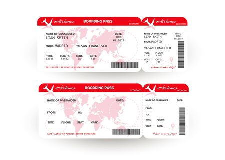 Airplane ticket. Boarding pass ticket template. Concept of travel, journey or business. Isolated on white. Vector