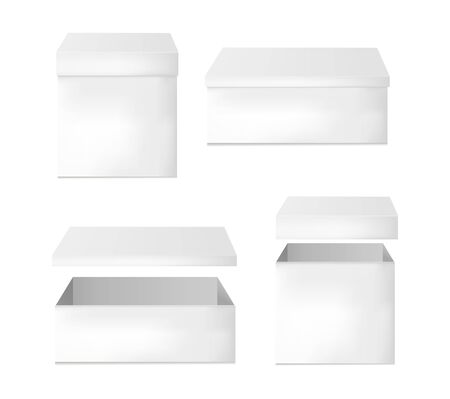 Set of blank white cardboard packaging boxes. Can be use for medicine, food, cosmetic and other. Vector illustration