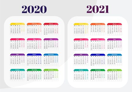 Calendar 2020, 2021 year. Calendar design template. Ready design. Vector illustration