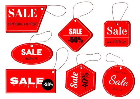 Tags set. Vector badges and labels isolated. Red tag on the rope. best choice, special offer. Vector labels for design banners and flyers.  イラスト・ベクター素材