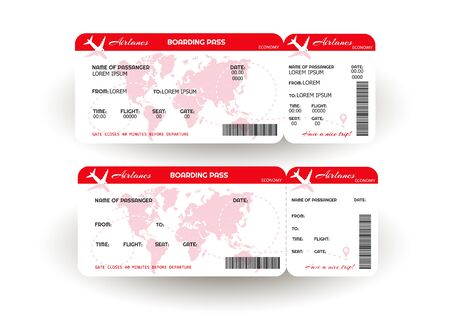 Airplane ticket. Boarding pass ticket template. Concept of travel, journey or business. Vector illustration Çizim