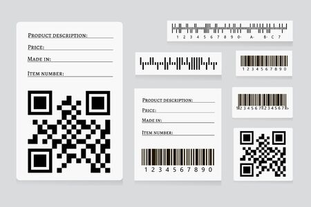 Barcode sticker set vector.  Universal Product Scan Code. UPC Bar Code Scan Symbol. Realistic Barcode icon isolated. QR code.