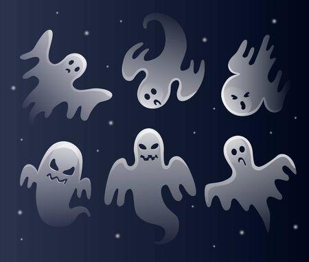 Fantasmas blancos aterradores. Celebración de Halloween. Monstruo fantasmal con forma de cara de miedo.