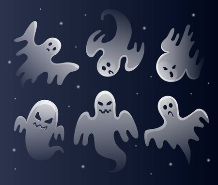 Scary white ghosts. Halloween celebration. Ghostly monster with scary face shape.