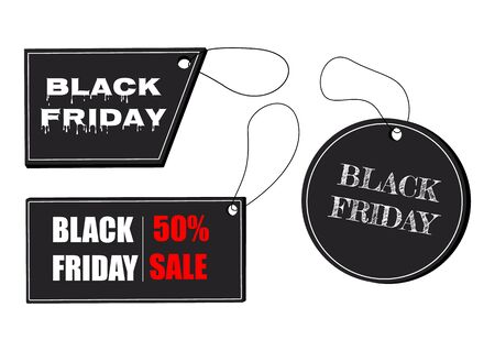 Black Friday sale black tag, banner, advertising. Black tag on the rope. Vector illustration.