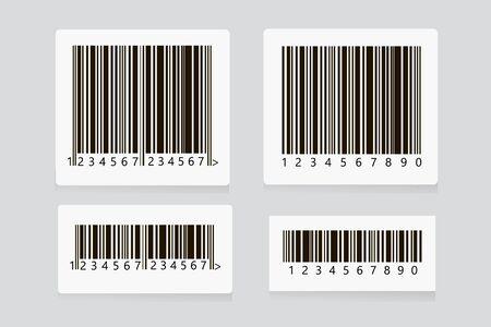 Vecteur de jeu d'autocollants de code-barres. Code de numérisation de produit universel. Symbole de numérisation de code à barres UPC. Icône de code-barres réaliste isolé. QR Code.