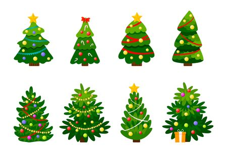 Different Christmas tree set, vector illustration. Can be used for greeting card, invitation, banner, web design. Christmas trees isolated on white background. Vector