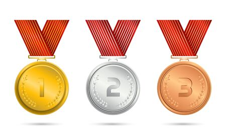 Champion gold, silver and bronze award medals with red ribbons Çizim