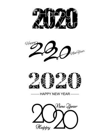 Conjunto de patrón de diseño de texto 2020. Colección de logo 2020 Feliz año nuevo. Ilustración vectorial. Aislado sobre fondo blanco. Logos