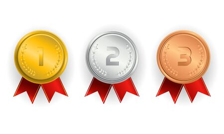 Champion gold, silver and bronze award medals with red ribbons Archivio Fotografico - 131785344