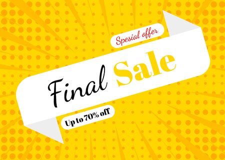 Final Sale, poster design template, special offer, up to 70 off. vector illustration
