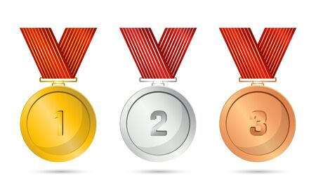 Realistic award medals. Set of gold, silver and bronze Award medals on white - stock vector Archivio Fotografico - 131957386