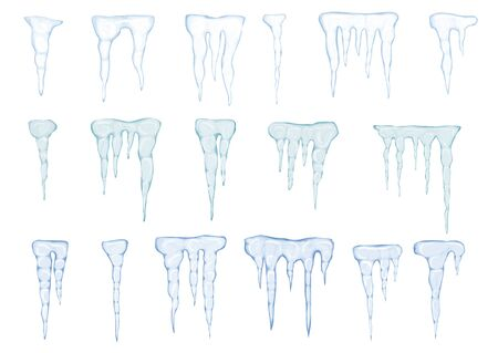 Set of translucent light blue icicles on white background. Transparency only in vector file. Vector illustration