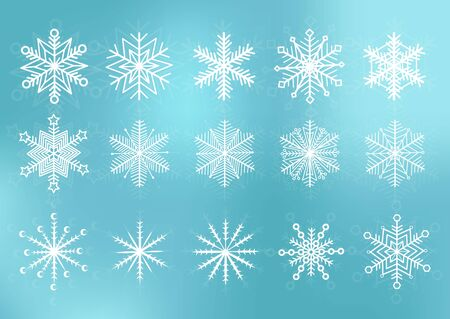 Cute snowflakes collection isolated on blue background. Snow flakes. Snow element for christmas banner, cards. New year ornament. Ilustracja