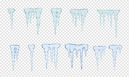 Set of translucent light blue icicles on transparent background. Transparency only in vector file. Vector illustration Фото со стока - 132792889