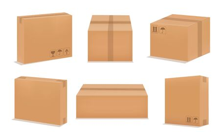 Set of blank cardboard packaging boxes. Set realistic Brown box. Vector illustration Ilustracja