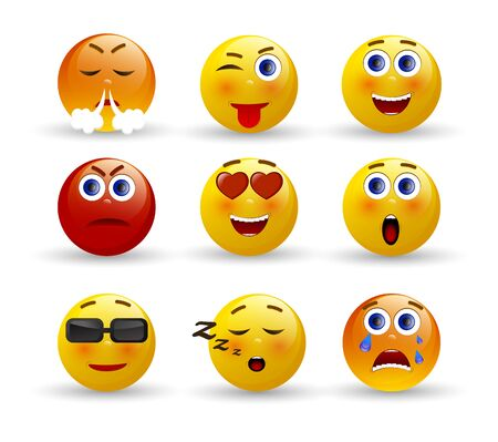 Set of Emoticons. 3d realistic emoji. Face with emotions. Vector illustration on white background