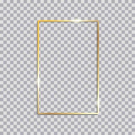 Goldglänzender leuchtender Vintage-Rahmen mit Schatten. Goldene realistische Rechteckgrenze des Luxus. Vektor-Illustration
