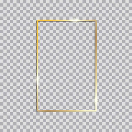 Gold shiny glowing vintage frame with shadows. Golden luxury  realistic rectangle border. Vector illustration