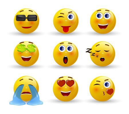 Set of Emoticons. 3d realistic emoji. Vector illustration on white background Ilustracja